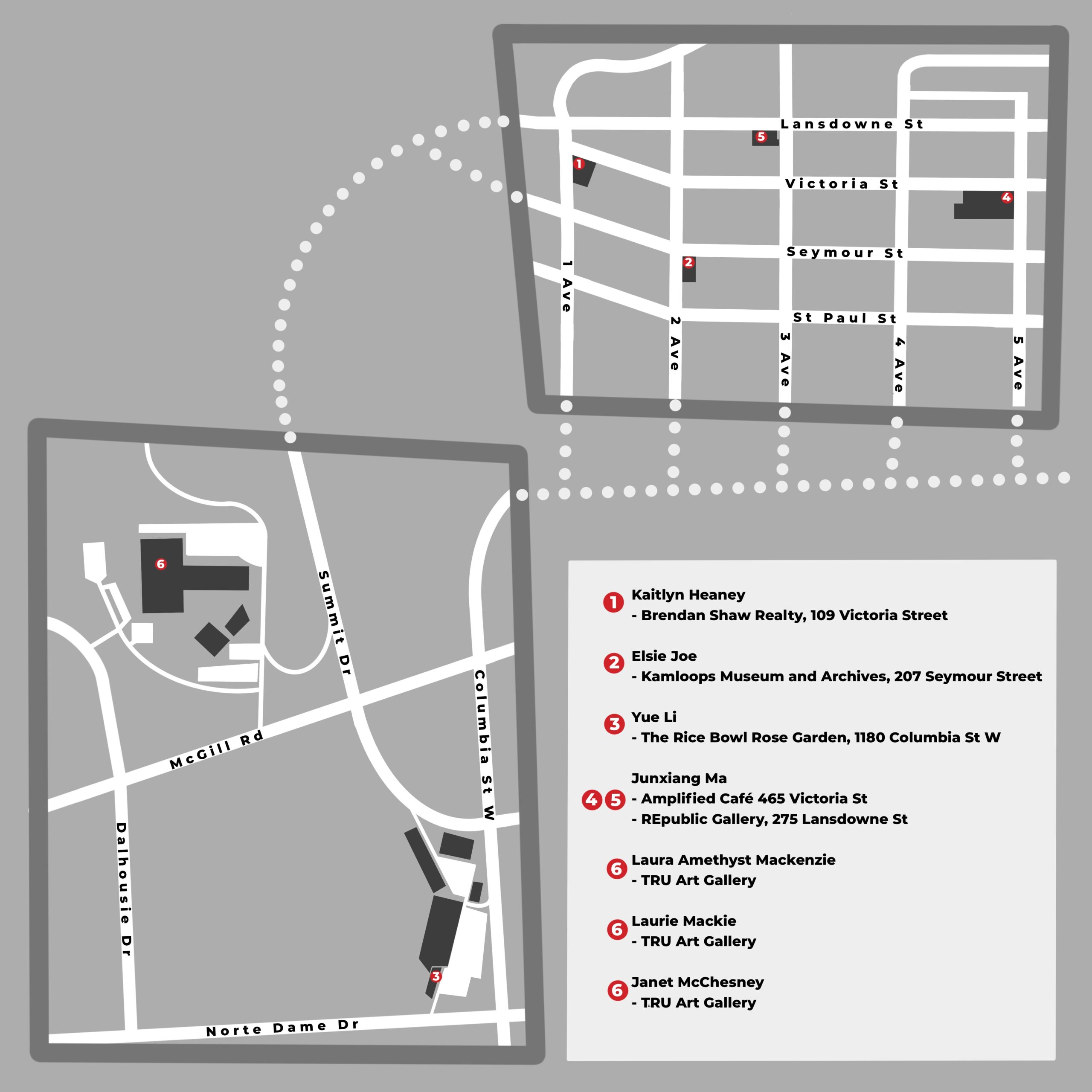 Map of exhibition locations